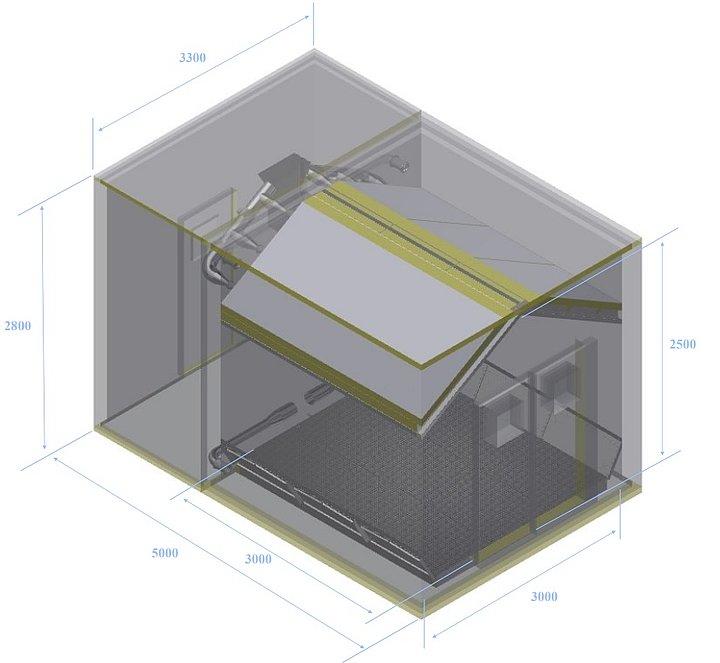 Příklad rozměrů Walk in korozní komory Ascott