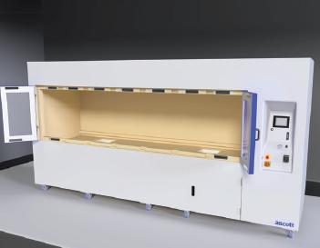 Korozní komora Ascott CorroFlex - vzorky lze vkládat vysokozdvižním vozíkem